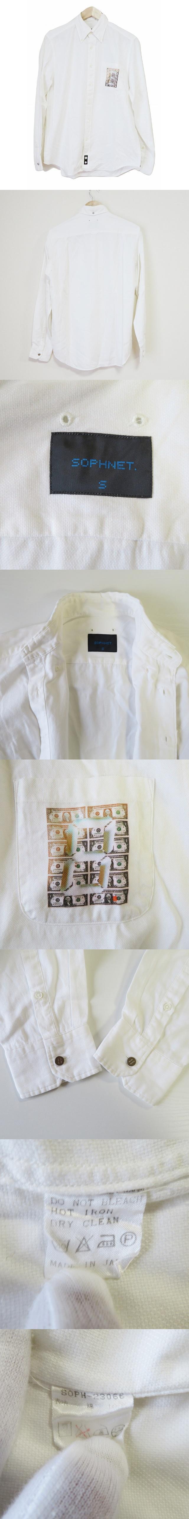 ボタンダウンシャツ S 白 ホワイト 綿100% コットン プリントポケット デジタル数字 日本製 ボタン開閉 トップス カジュアル