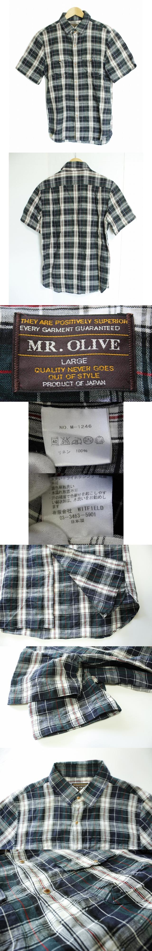 麻 半袖 シャツ L 紺 ネイビー リネン100% スナップボタン 両胸ポケット 日本製 カジュアル 夏 トップス