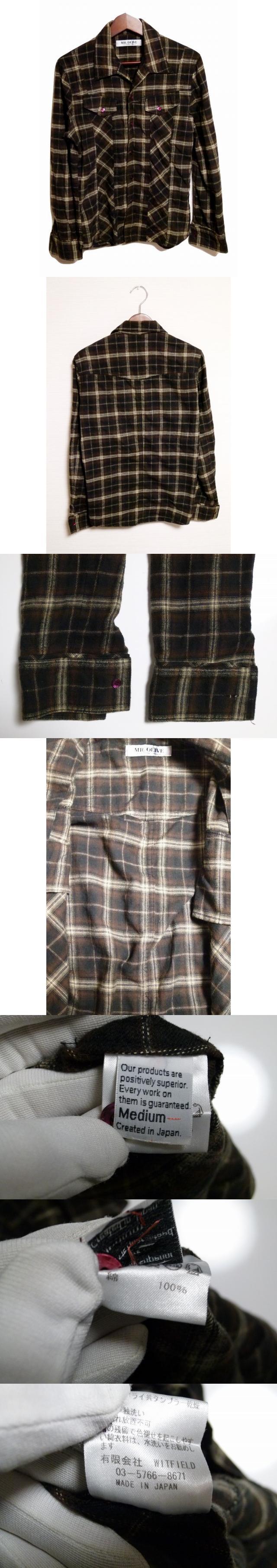 ネルシャツ M 茶 ブラウン チェック柄 綿 コットン100% 日本製 トップス 長袖