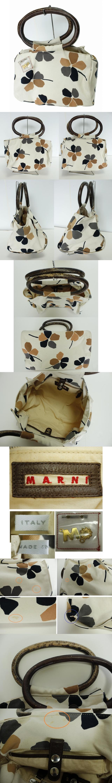 ハンドバック トートバッグ 白 生成り 花柄 プリント キャンバス地 布 持ち手木製 チャーム付き イタリア製 内ポケットあり