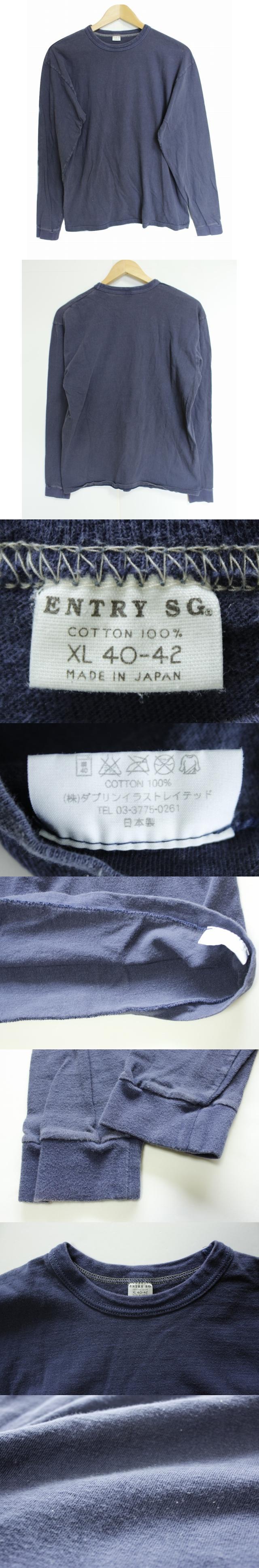 エントリーセスジー ENTRY SG 長袖 カットソー XL 紺 綿100% コットン 丸首 クルーネック 無地 長袖Tシャツ シンプル トップス 日本製