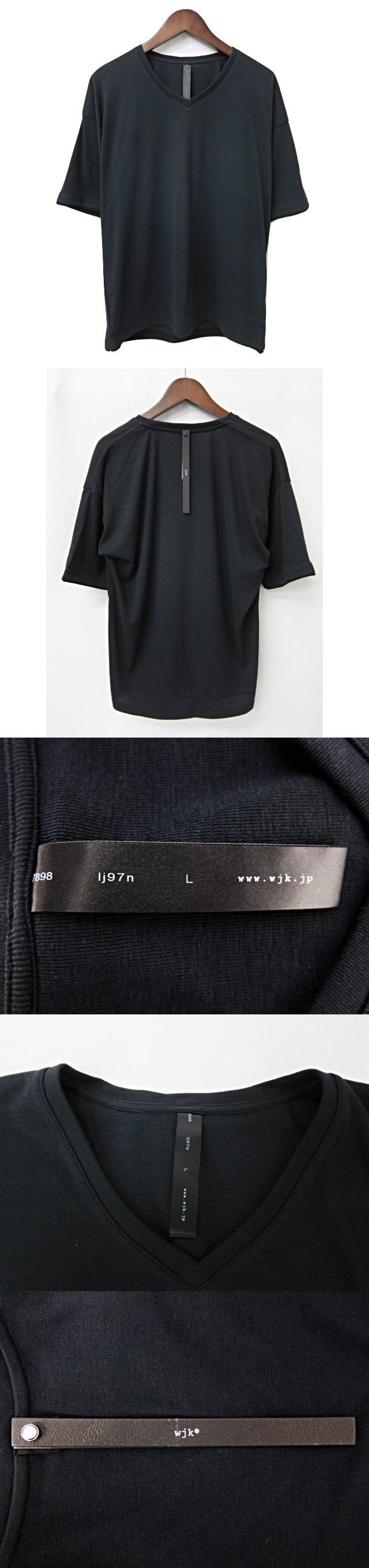 7898 lj97n drop shoulder cut&sewn ドロップショルダーカットソー 黒 ブラック M 無地 ポリエステル 日本製 Tシャツ Vネック 半袖 タグ付