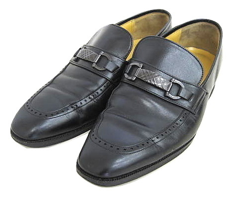 バーバリー BURBERRY ビットローファー 黒 25cm レザー 革靴 紳士靴 ビジネスシューズ スリッポン 靴 ブラック ☆AA☆ メンズ