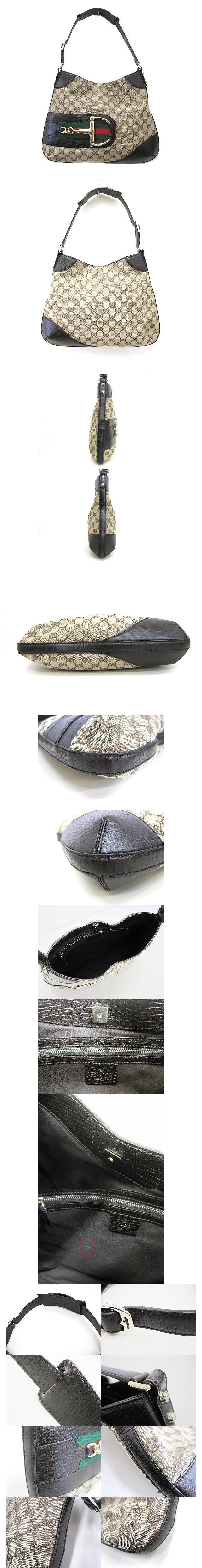 GGキャンバス ワンショルダーバッグ ベージュ ブラウン 137388 かばん ハンド ホースビット シェリーライン 美品
