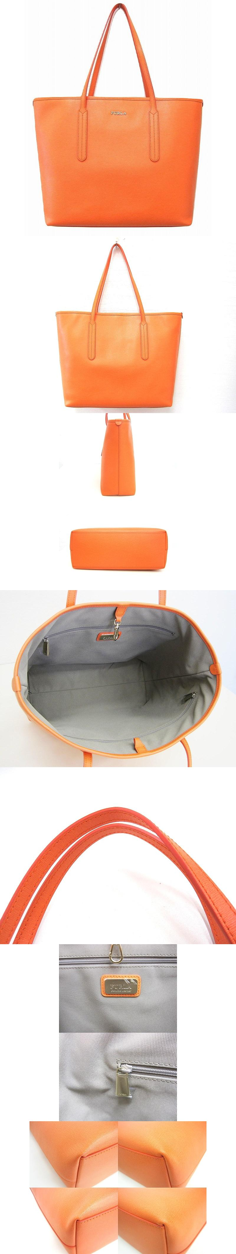 トートバッグ オレンジ かばん ショルダー レザー 大きめ 極美品