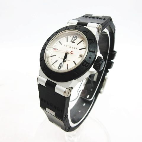 best website bb6e3 b049b ブルガリ BVLGARI 腕時計 クォーツ ディアゴノ アルミニウム ラバー ウォッチ シルバー ブラック/AL 29 TA レディース
