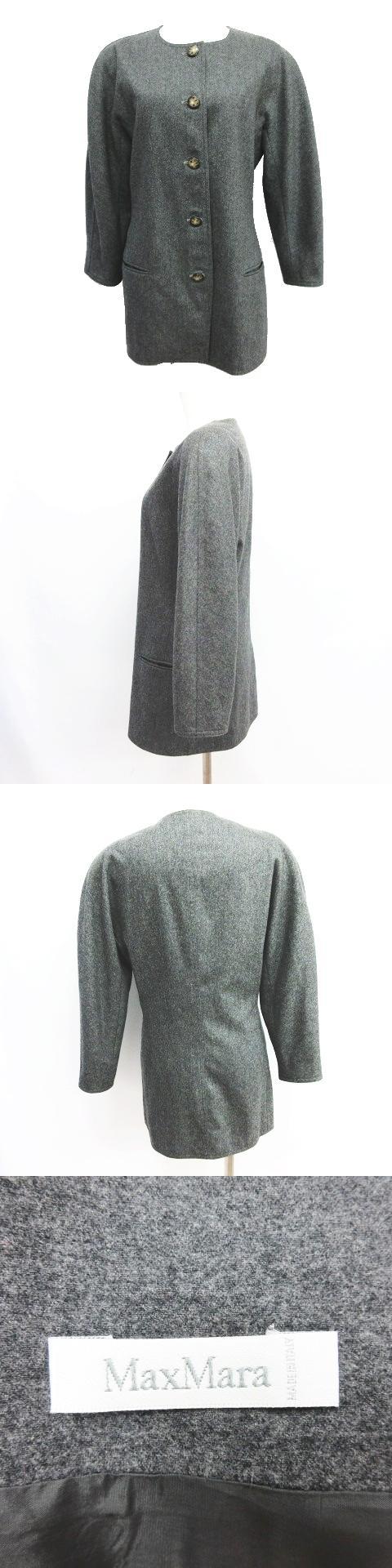 ノーカラー コート ジャケット ウール カシミヤ アウター サイズ42 グレー