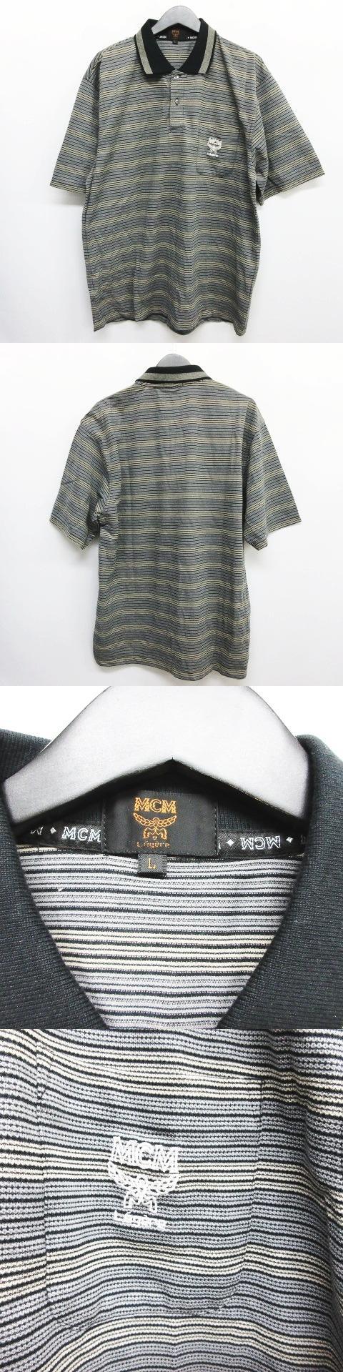 ビンテージ ポロシャツ カットソー トップス ボーダー柄 グレー サイズL 〇7