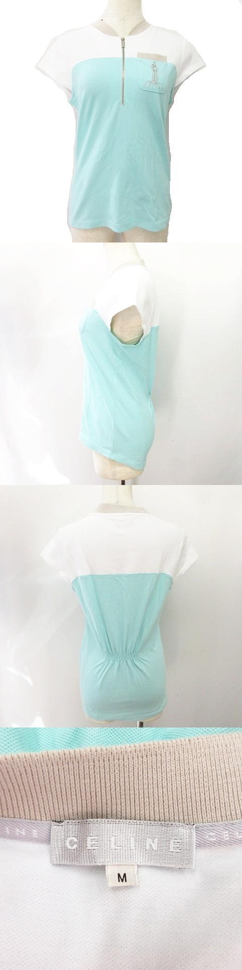 ポロシャツ 鹿の子 バイカラー ロゴ刺繍 ハーフジップ 半袖 サイズM ライトグリーン