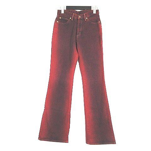 ボブソン BOBSON ブーツカット カラーデニム ジーンズパンツ コットン ロング サイズ63㎝ 赤 レッド/1 レディース