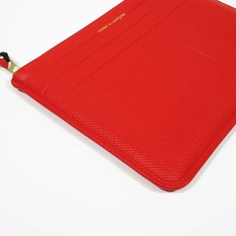 未使用品 ウォレット コム デ ギャルソン Wallet COMME des GARCONS インターセクション クラッチバッグ ポーチ型財布 牛革 レザー 型押し 赤 レッド SA5100LS 8Z-V051-051  メンズ レディース