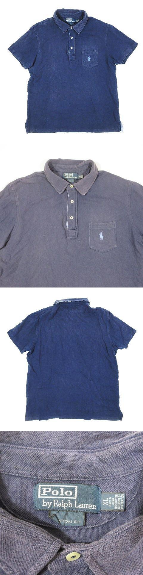ポロシャツ 鹿の子 カノコ 半袖 ワンポイント ロゴ 刺繍 サイズXL ネイビー