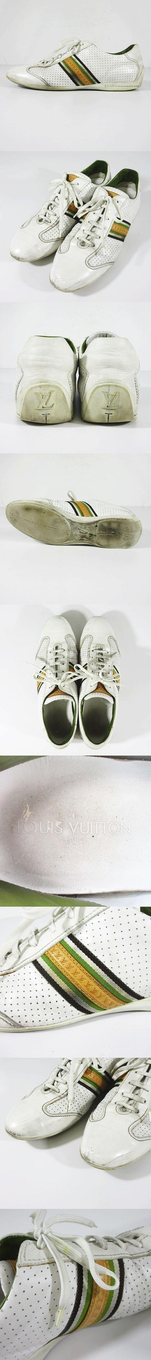 パンチング レザー スニーカー シューズ LVロゴ ライン 靴 サイズ8.5 ホワイト 白 △A