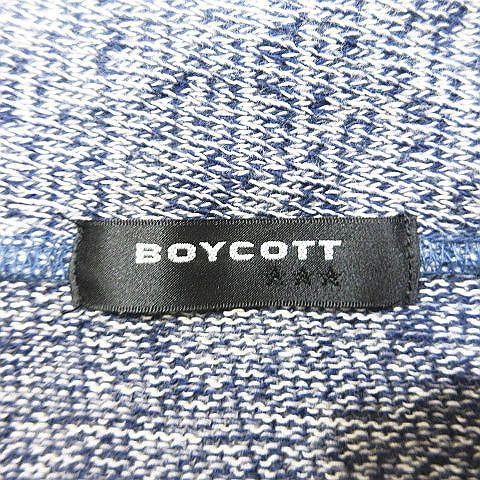 ボイコット BOYCOTT ニットジャケット カーディガン 長袖 コットン サイズ4 紺 ネイビー/19 ◎A7 メンズ