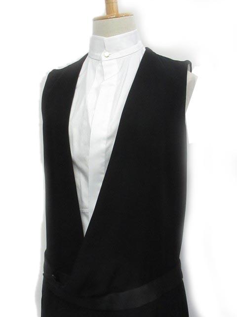 48c3d6453f9ee セリーヌ CELINE フェイクレイヤード ワンピース シャツ ひざ丈 襟付き バイカラー ノースリーブ 黒×白 36 IBS レディース