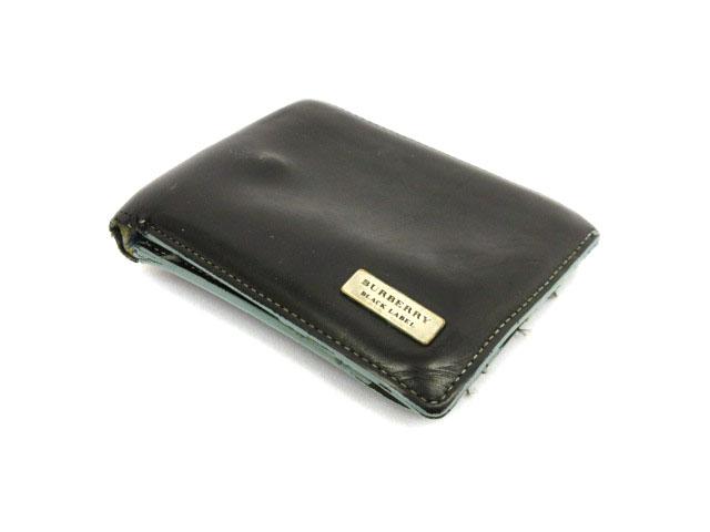 quality design b4b43 99182 バーバリーブラックレーベル BURBERRY BLACK LABEL 財布 二つ折り レザー ワンポイント 黒 ブラック /mm メンズ