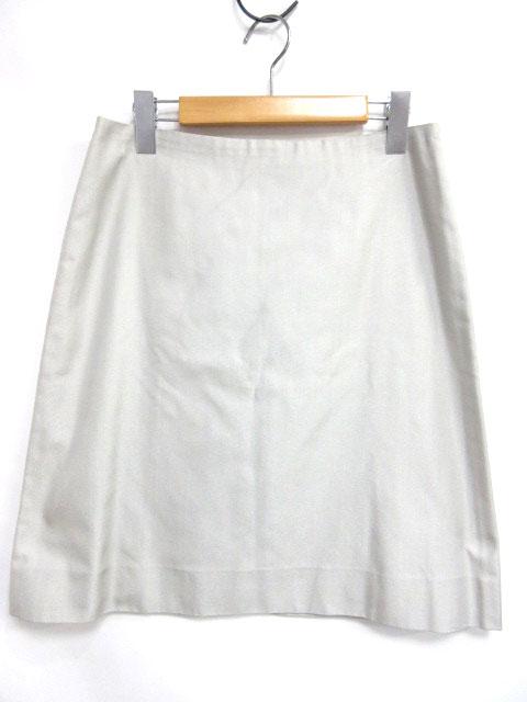 fdbb3d51d3c7 未使用品 セリーヌ CELINE スカート 台形 フレア ひざ丈 シルク100% グレー 灰 38 1028 レディース