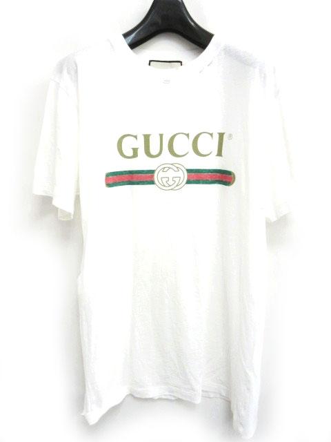huge selection of 793ea 5ff22 グッチ GUCCI Tシャツ GUCCIロゴ オーバーサイズ コットン フラワーアップリケ 加工 半袖 457095 X5L89 ホワイト 白 S  1124 メンズ