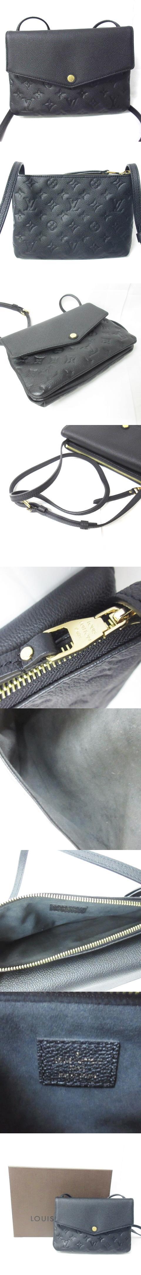 美品 ショルダー バッグ モノグラム アンプラント トワイス M50258 ポシェット 型押し レザー 斜めがけ ブラック 黒 0414