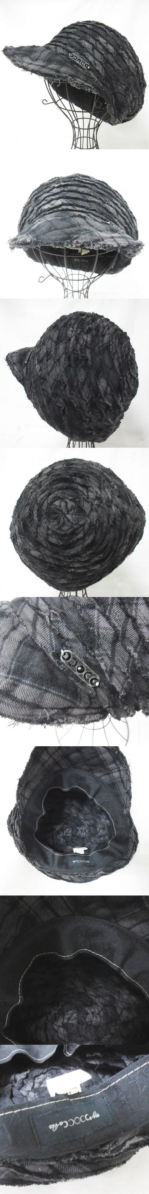 美品 キャスケット キャップ ハンチング 帽子 ビジュー 畝 チェック グレー 黒 F 1110