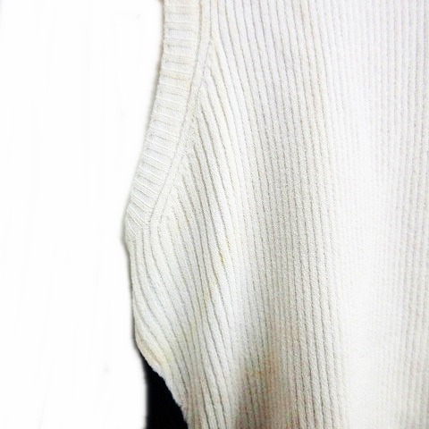 シャネル CHANEL 02C ノースリーブ カットソー タンクトップ ココマーク COCO ホワイト ネイビー 40 0801 ECR7 レディース