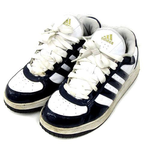 アディダス adidas スニーカー エナメル 白 ネイビー size 24.5cm 靴 170809 レディース