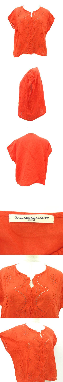 ブラウス カットソー プルオーバー ボーリング刺繍 赤系 朱色 オレンジ F トップス 190603T