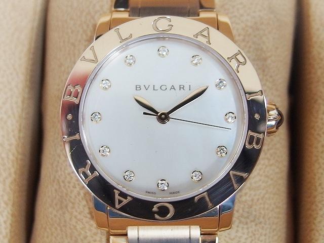 new product b6b9f 8d52c ブルガリ BVLGARI ブルガリブルガリ 32mm ピンクゴールド K18 ダイヤ12P ホワイトシェル 自動巻き 腕時計 2015年購入 レディース