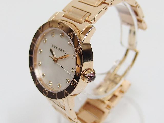 new product 5faf7 ef6f2 ブルガリ BVLGARI ブルガリブルガリ 32mm ピンクゴールド K18 ダイヤ12P ホワイトシェル 自動巻き 腕時計 2015年購入 レディース