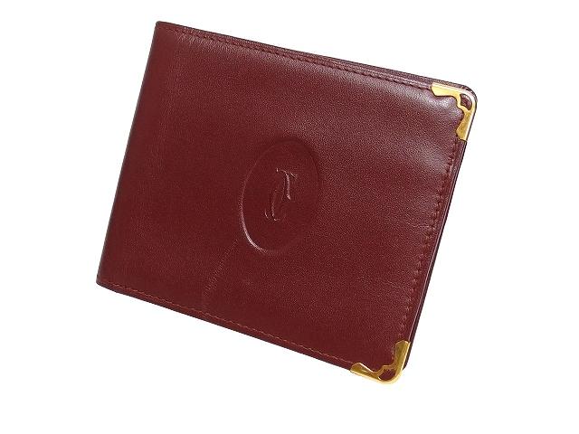 new arrival 57ee9 ba875 カルティエ Cartier 財布 二つ折り 札入れ マストライン コンパクトウォレット カーフレザー ボルドー 赤 /K メンズ
