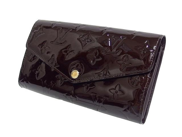 wholesale dealer 94a36 d839f 美品 ルイヴィトン LOUIS VUITTON ヴェルニ 長財布 ポルトフォイユ・サラ M90152 アマラント 茶 メンズ レディース