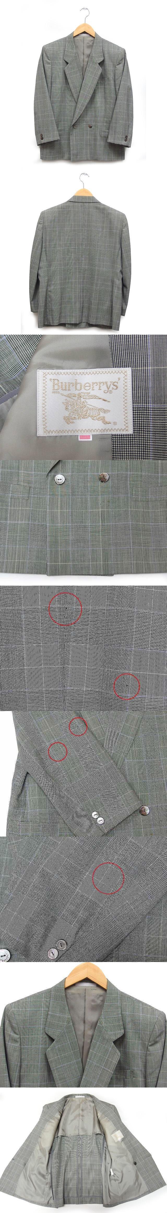 国内正規 ジャケット ブレザー テーラード 長袖 グレンチェック ウール 半裏 ダブルボタン 11号 グレー 灰 /K