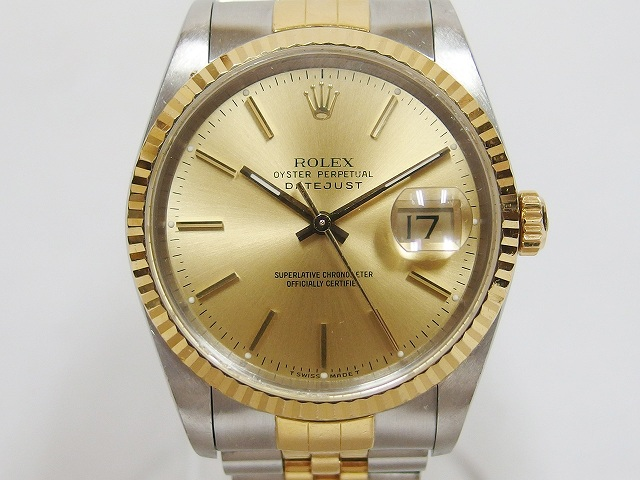 quality design abed6 8ed84 ロレックス ROLEX デイトジャスト シャンパン文字盤 SS×YGコンビ 自動巻き 16233 E番 腕時計 メンズ