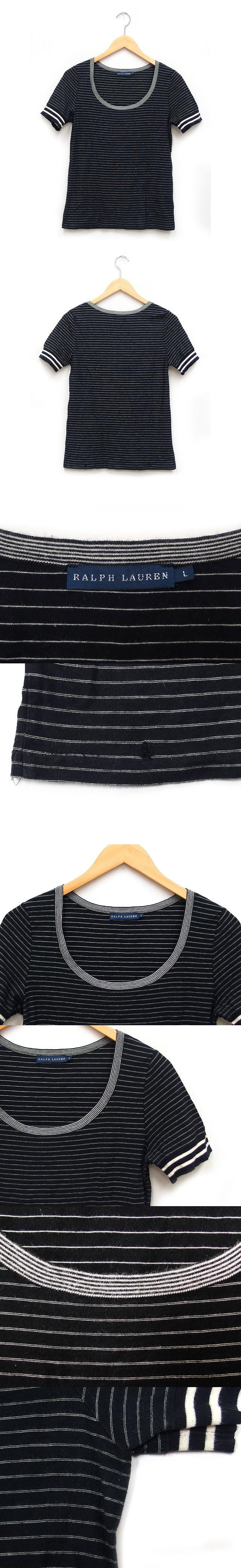 国内正規 Tシャツ カットソー 半袖 丸首 ラウンドネック ボーダー リブ袖 コットン 綿 L ブラック 黒 /K
