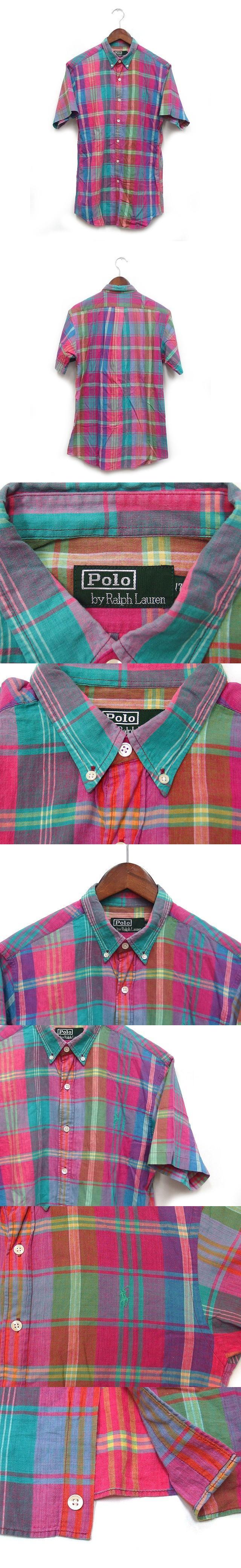 国内正規 シャツ 半袖 ボタンダウン チェック マドラス スモールポニー コットン 綿 170 ピンク グリーン 緑 /K