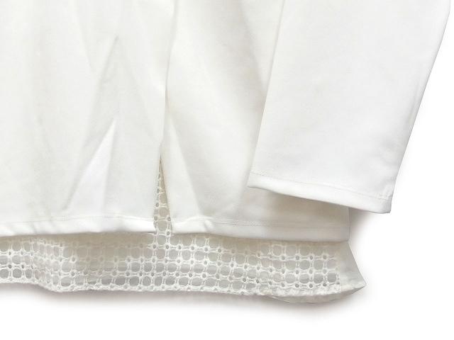 JURIAE セットアップ アンサンブル カットソー 8分袖 丸首 タンクトップ レース レイヤード M ホワイト 白 /KT レディース