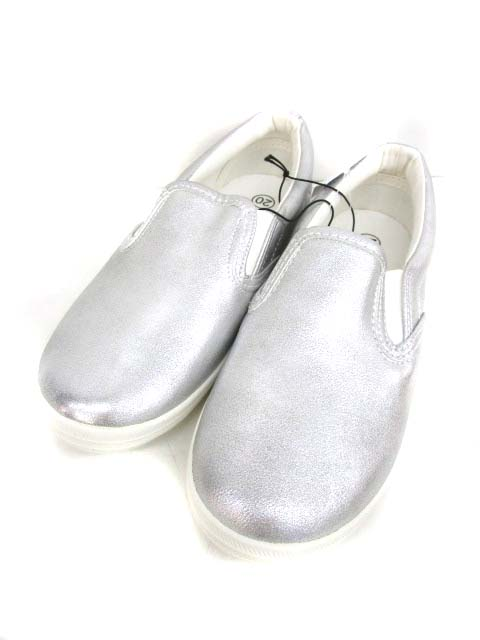 31b0037c052adc ジーユー GU スリッポン 靴 シューズ 20cm シルバー 子供 キッズ メンズ レディース