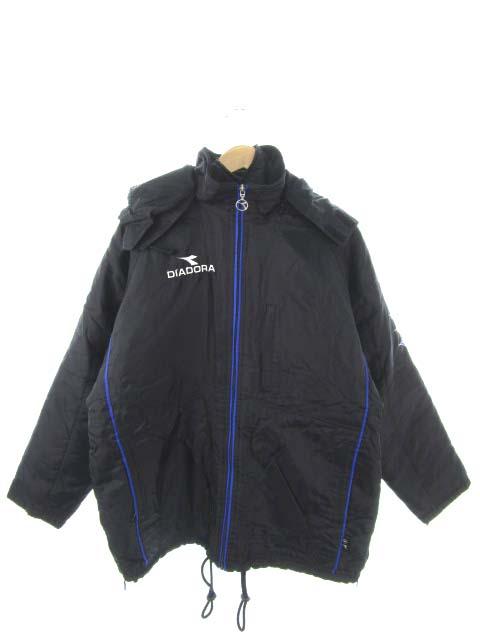 ディアドラ DIADORA 中綿 ハーフコート アウター 上着 サッカーウェア ライナー付き 黒 ブラック M メンズ