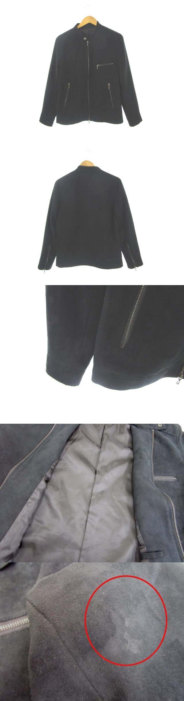 ライダースジャケット フェイクスウェード アウター 黒 ブラック