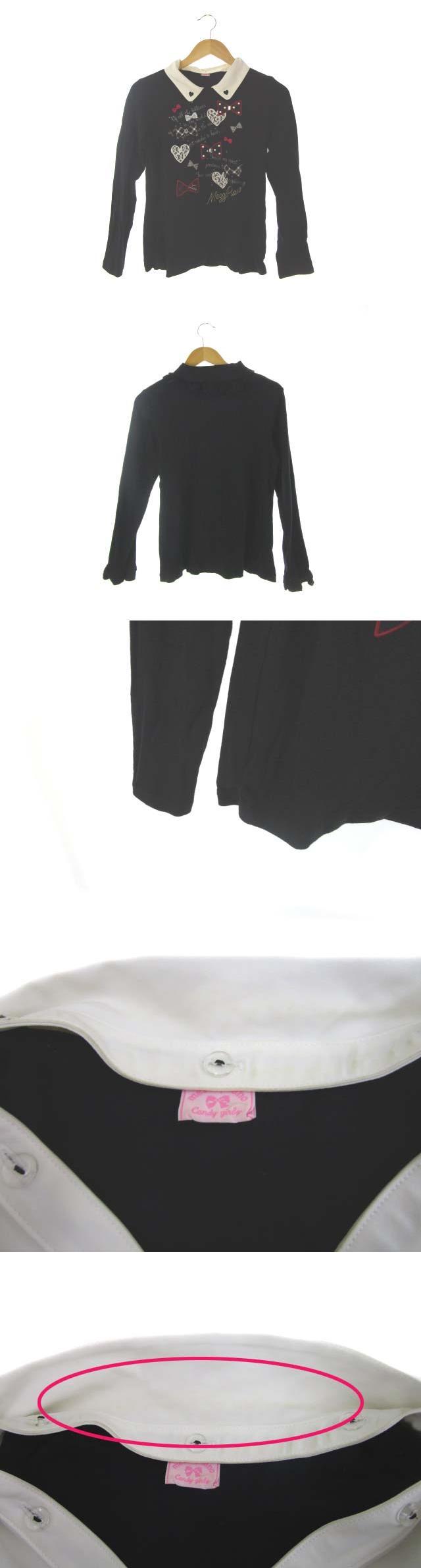 Tシャツ カットソー プリント トップス 黒 ブラック 160 ジュニア 子供服