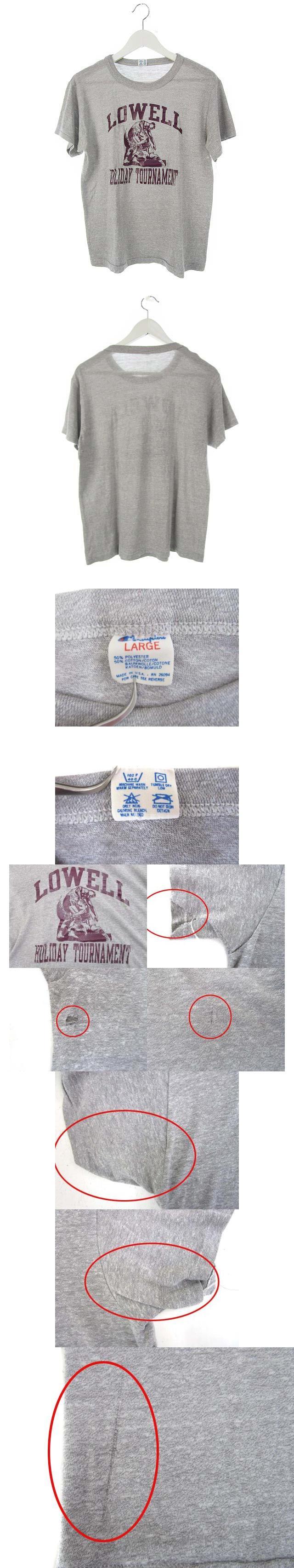80's トリコタグ Tシャツ LOWELL プリント 半袖 ヴィンテージ グレー L