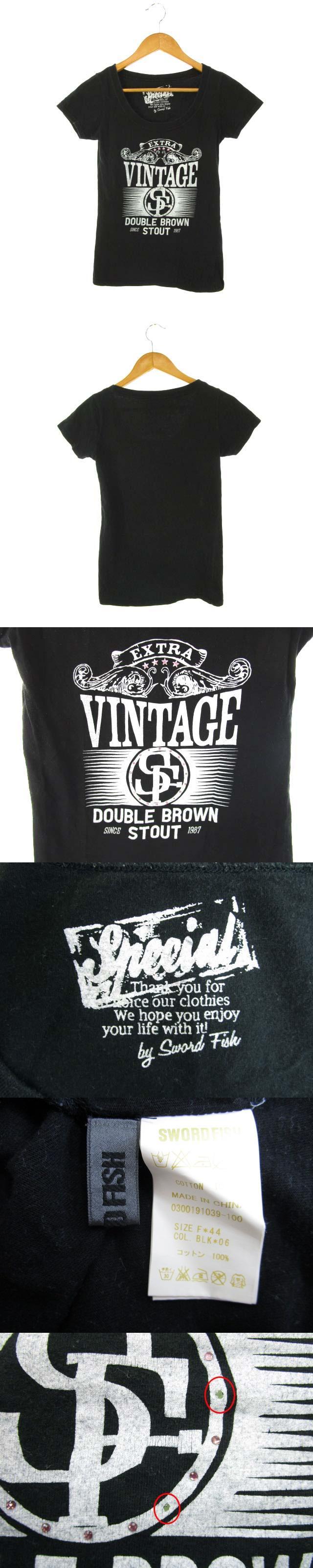 Tシャツ カットソー トップス 半袖 プリント 黒 ブラック F