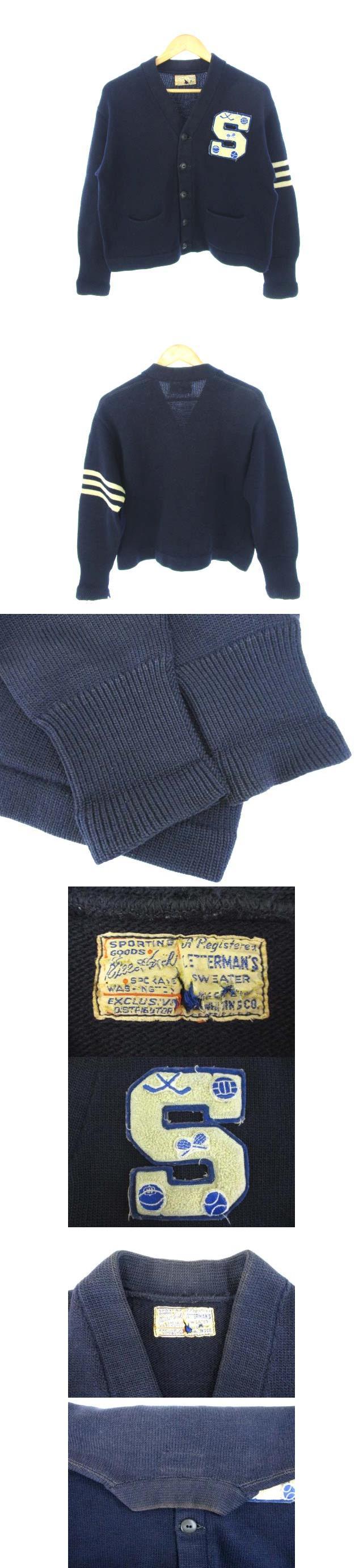 ホワイティング Whiting 40's 50's レタード カーディガン USA製 ニット ワッペン 紺 ダークネイビー
