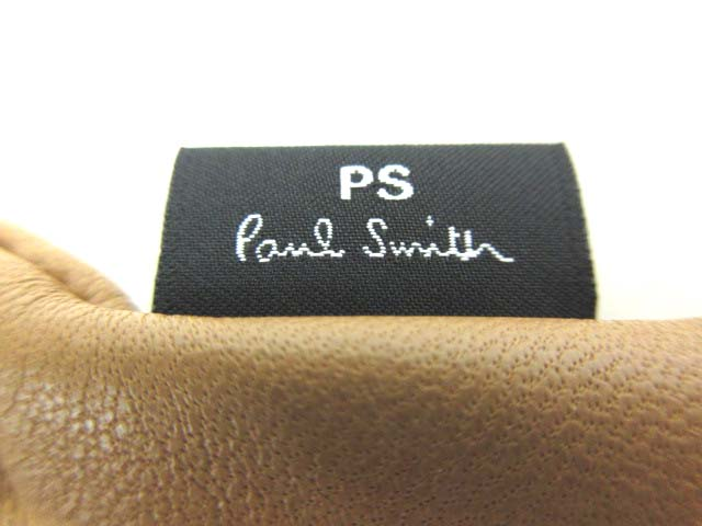 ポールスミス PAUL SMITH レザー 手袋 羊革 グローブ チェック切替 ブラウン 24 メンズ