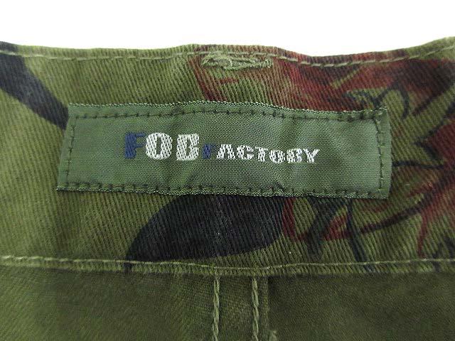エフオービーファクトリー FOB FACTORY フラワーカモショーツ ショートパンツ ハーフパンツ ボタニカル柄 ボトムス カーキ L メンズ