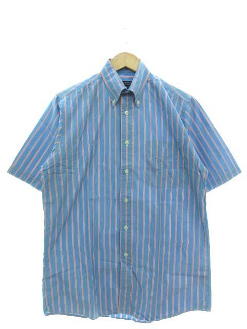 マクナリーブラザーズ MCNAIRY BROTHERS ボタンダウンシャツ 半袖 ストライプ トップス USA製 ブルー S メンズ