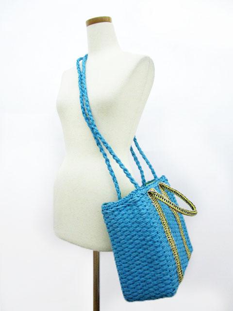 未使用品 コキュ COCUE かごバッグ ハンド ショルダー 2way 巾着 青 ブルー レディース