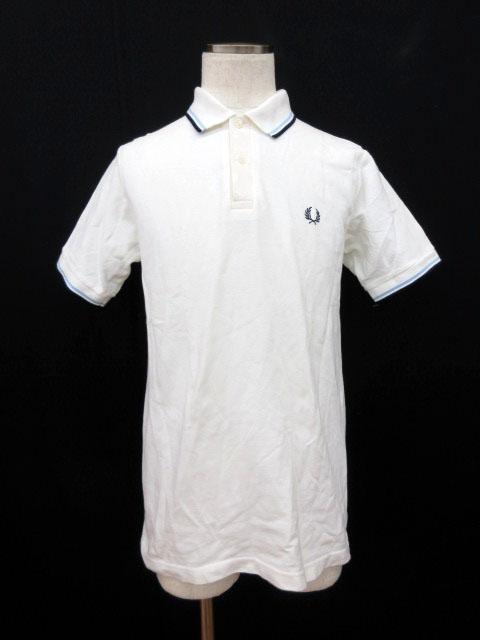 1dc9364970662b フレッドペリー FRED PERRY シャツ ポロシャツ 半袖 ライン ワンポイント 刺繍 綿 コットン M 白 ホワイト メンズ