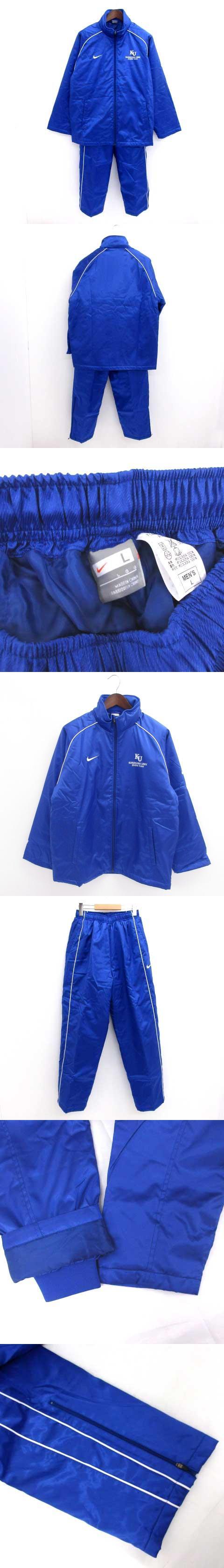 美品 神奈川大学 ジャージ 上下 フルジップ 中綿入り ロゴ ブルー 青 L