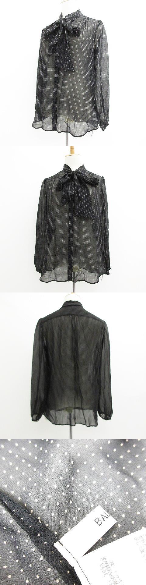 美品 ブラウス 長袖 ドット 水玉 リホ゛ン シルク 絹 ブラック 黒 38